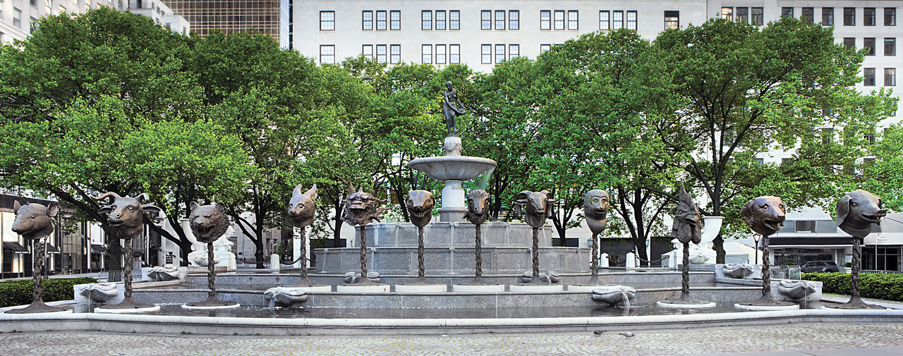 Ai Weiwei, Circle of Animals/Zodiac Heads, 2010. Bronze, installation at Pulitzer Fountain in Grand Army Plaza, New York 2011. Courtesy of the artist and AW Asia / Daniel Avila, Courtesy of NYC Parks & Recreation.