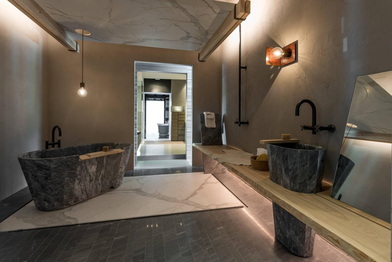 Aleph di pietra a project by studio clab for eera area for Arredo bagno marrone