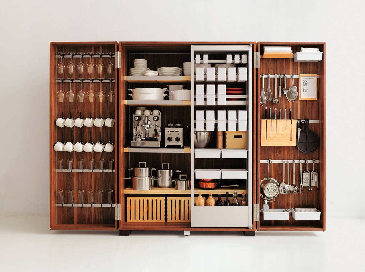 bulthaup b2, storage station in oak and walnut wood