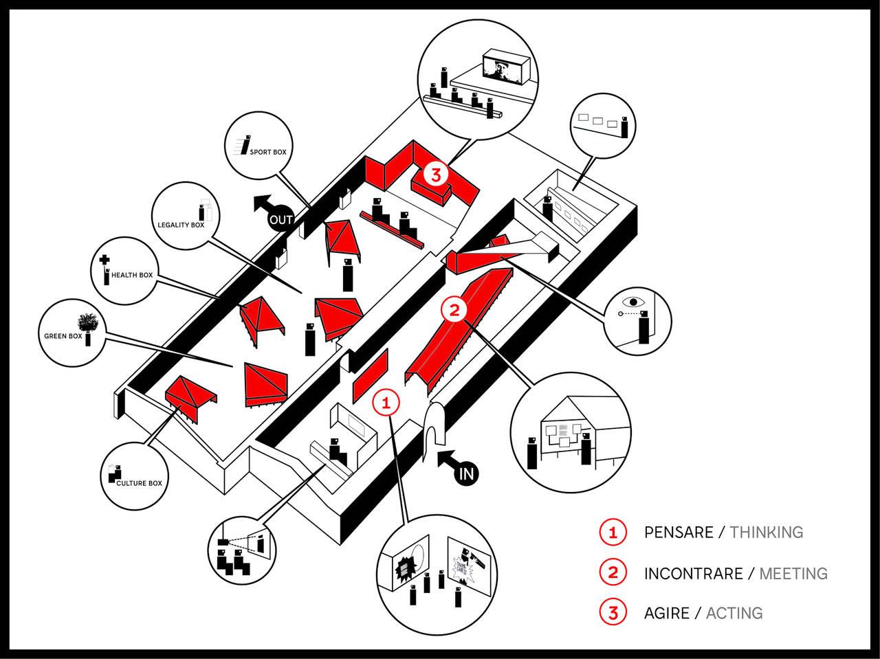 mappa percorso espositivo Padiglione Italia