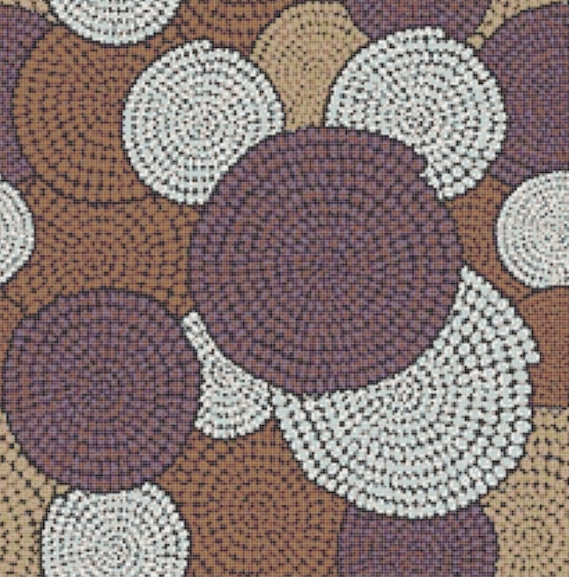 Decoro Round Blue della collezione Africa Now, composto da tessere della linea Vetrina