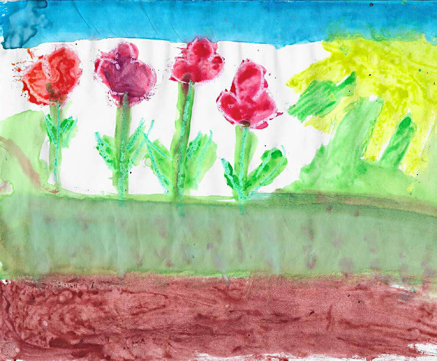 drawing by children representing the garden