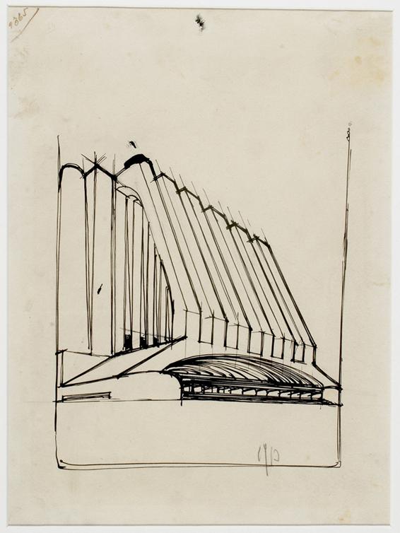 Edificio produttivo con silos e galleria (1913) - matita nera ripassata a inchiostro nero su carta (280x210 mm)