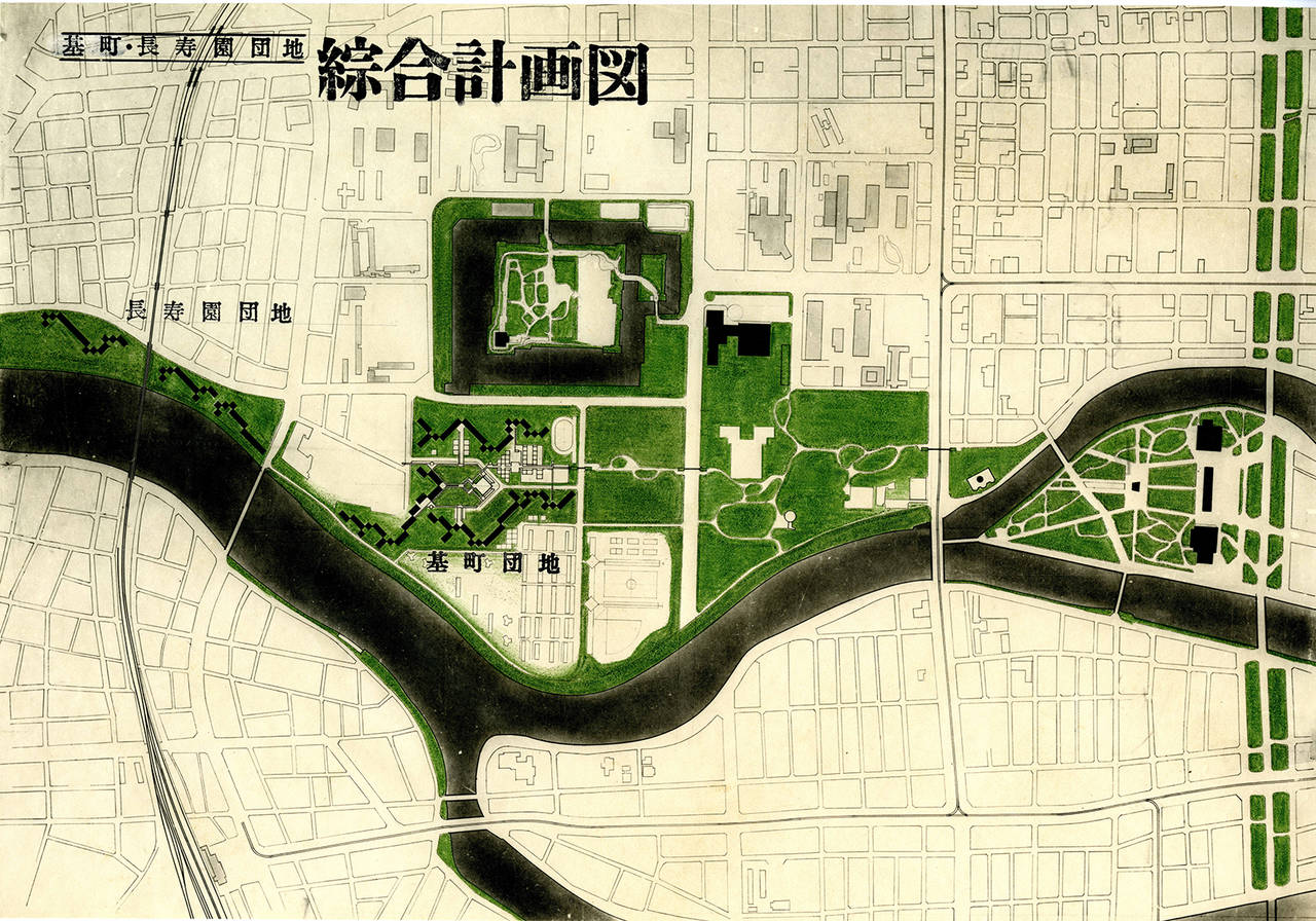 Masato Otaka. Matomachi Apartments, Hiroshima, master plan, 1969-78 (National Archives of Modern Architecture)