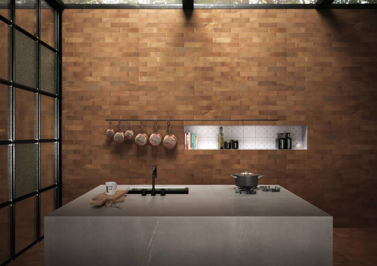 Ambiente cucina realizzato con la collezione Firenze Heritage Antico nella finitura Matt