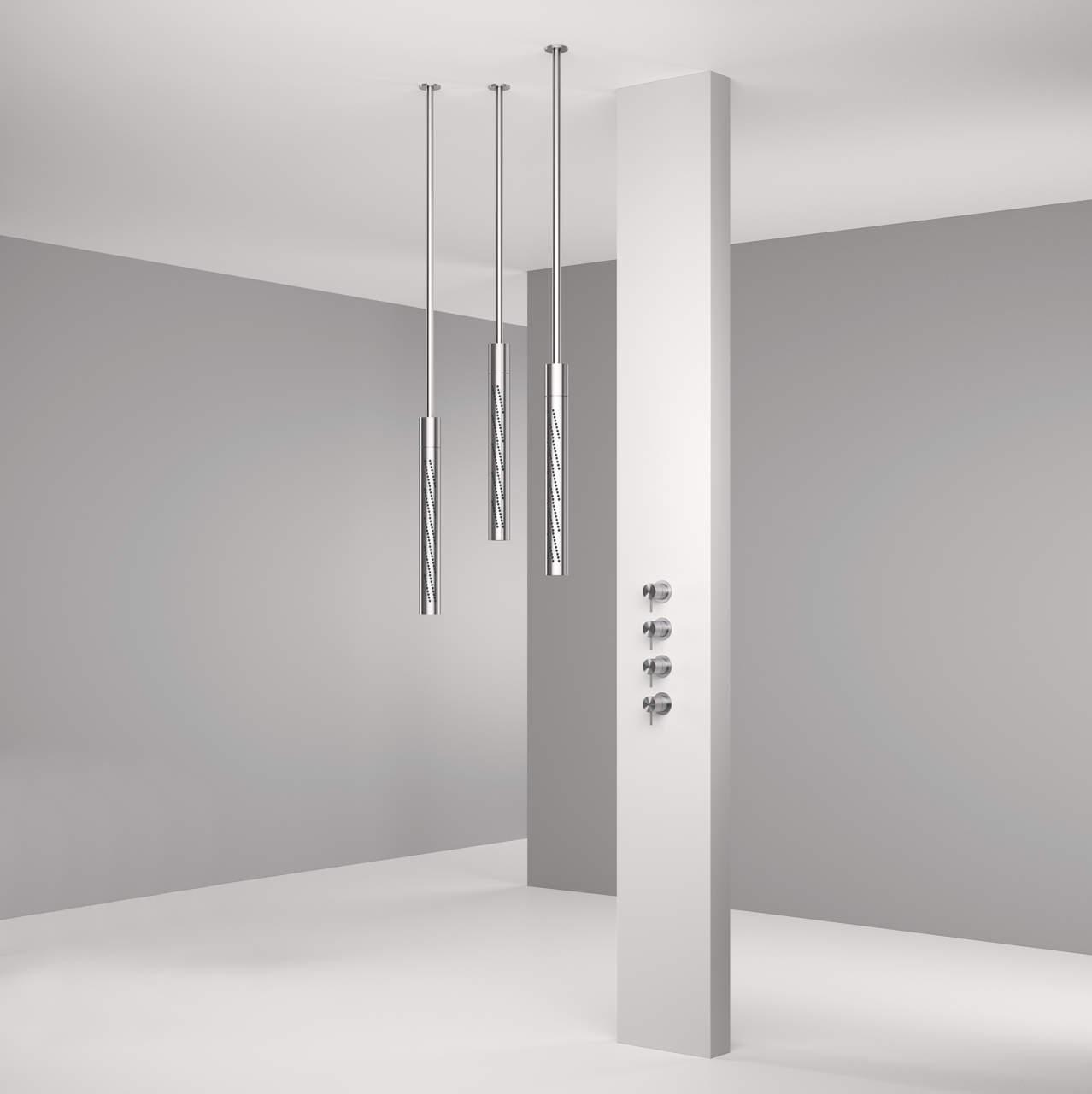 Soffione tubolare girevole verticale a soffitto