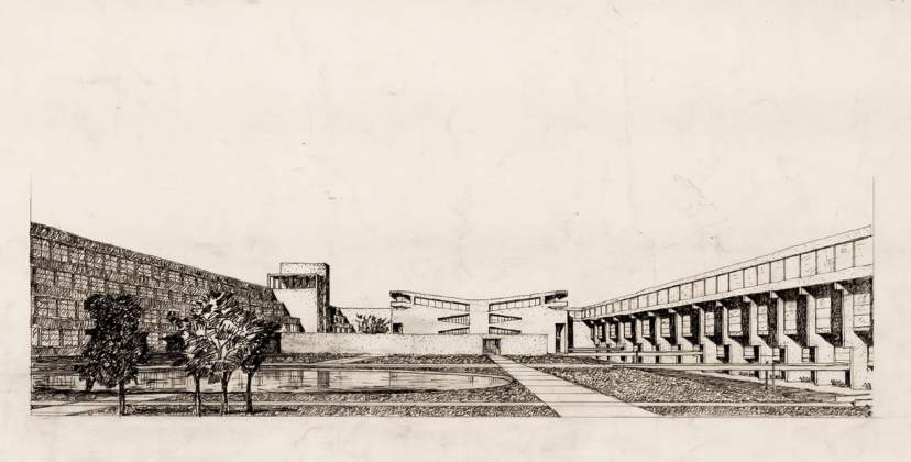 Prospettiva, Concorso internazionale pr il piano urbanistico di sistemazione dell'Università degli studi di Cagliari, 1972. Collezione Andrea Samonà e Livia Toccafondi