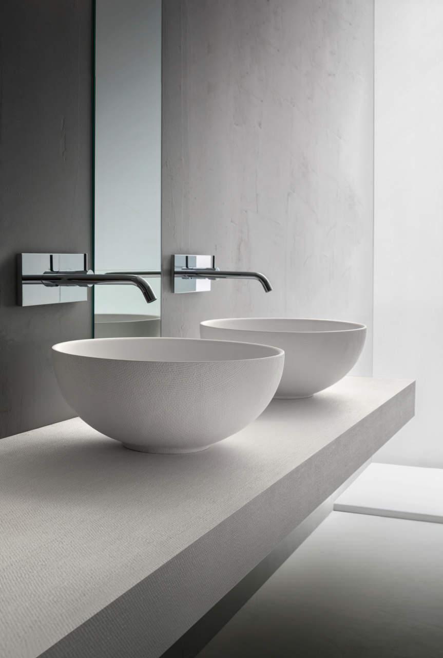 La nuova ciotola in finitura Juta by Arblu permette di arredare il bagno creando un vero e proprio coordinato che coinvolge tutti gli elementi della stanza