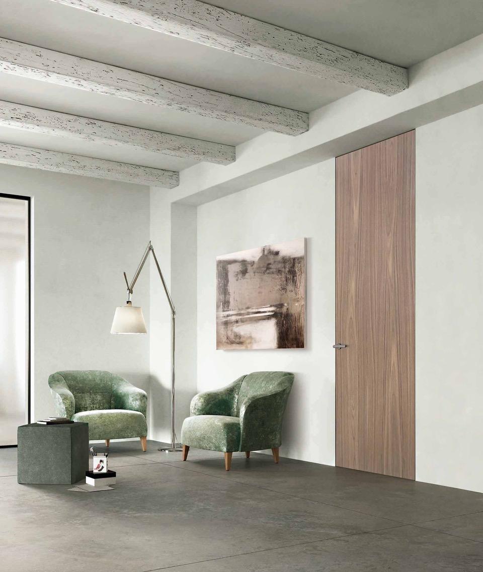 Finitura Noce Canaletto Natural Touch, modello Exitlyne Zero della collezione Exit, con telaio A_Filo