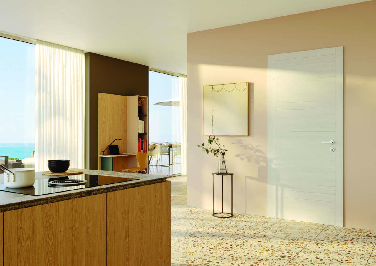 Modello Segni della collezione Replica di FerreroLegno nella nuova finitura Materic Greige, con telaio Flat